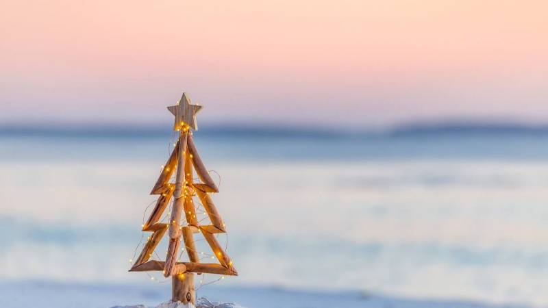 small wooden christmas tree in front of blurred hawaii beach