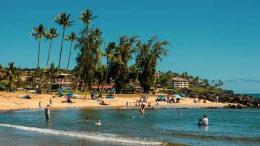 Families enjoy the Kauai beach