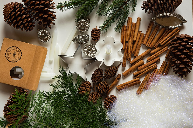 flat lay of pine cones, cinnamon sticks and evergreen branches