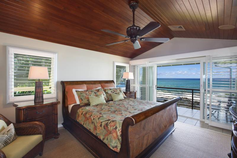 master bedroom with ocean views on kauai