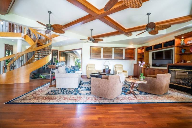 living room in princeville kauai home for sale