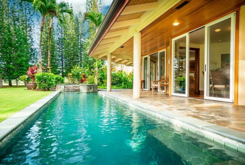 pool at luxury princeville home