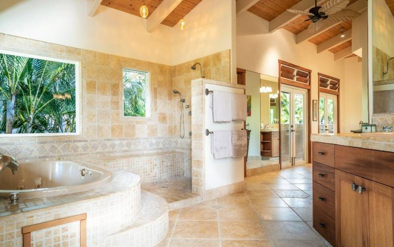 master bathroom in princeville home for sale