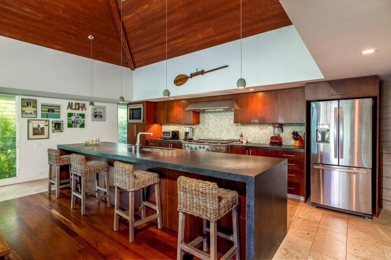 luxury kitchen in haena home for sale