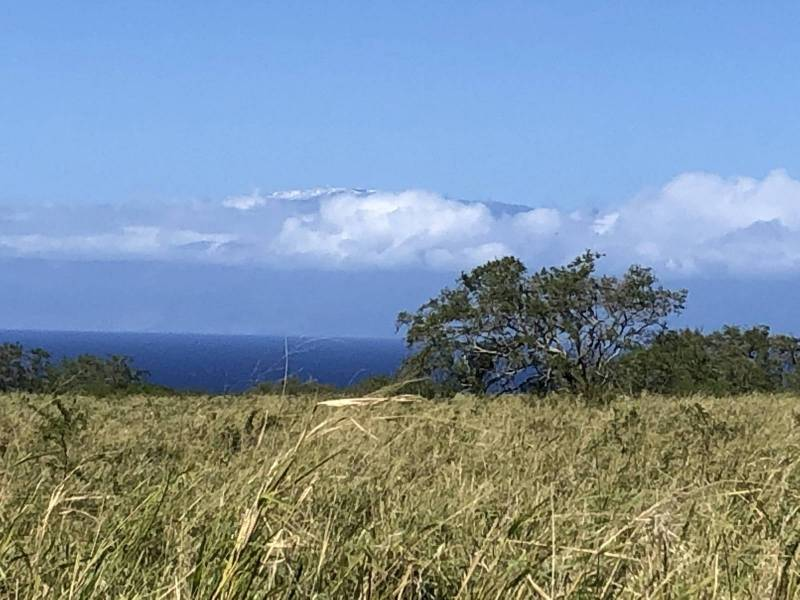 Haleakala Maui covered with snow from Puakea Bay Ranch lot