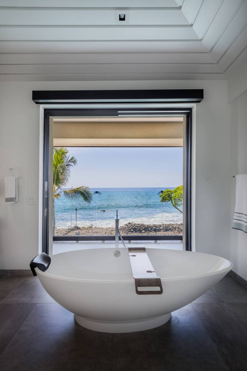view of beach from master bathroom tub