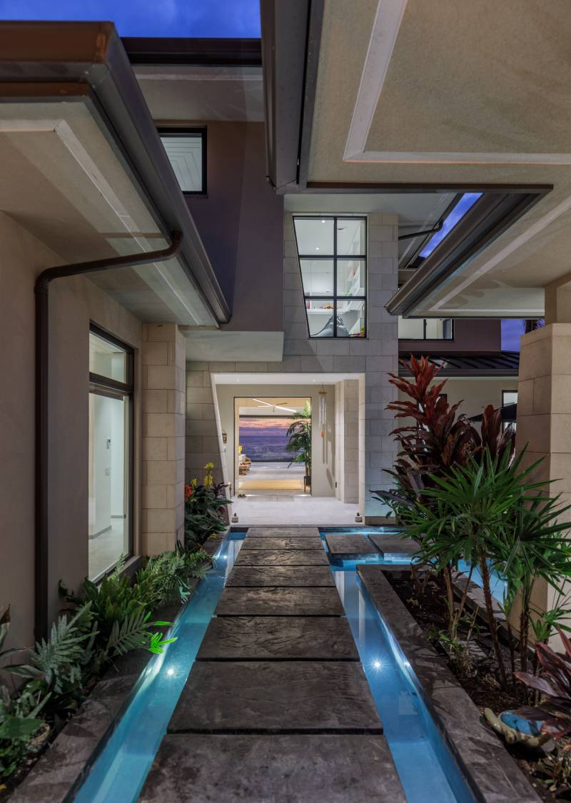 lava pavers and tropical landscaping