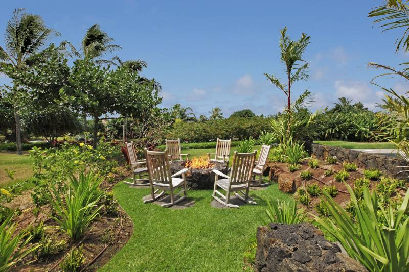 fire pit in the garden on south shore kauai