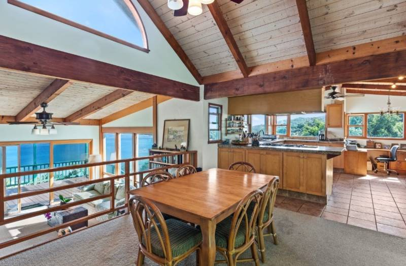 kitchen and dining area in kauai beach house