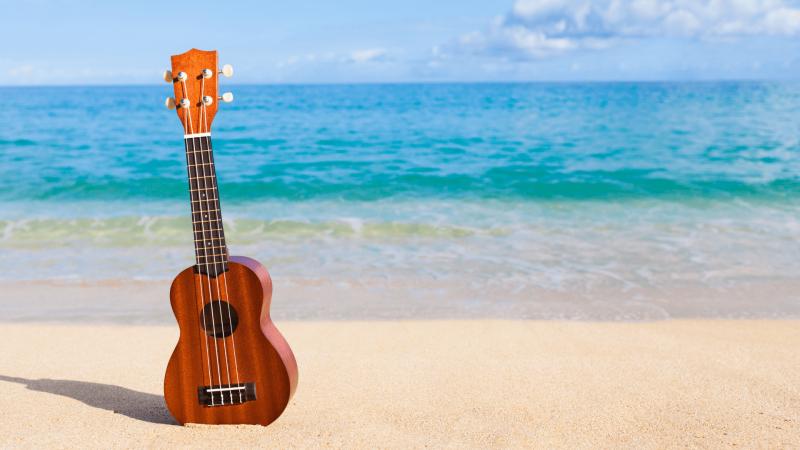 guitar on the beach in hawaii