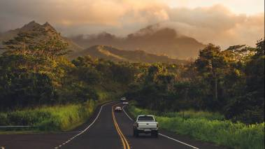 driving down the road on kauai