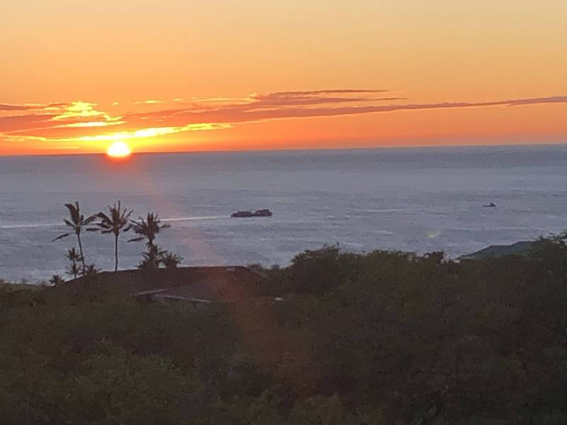 Sunsets from Kohala Ranch Heathers with the barge