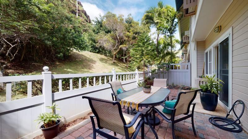 patio at lalea condo for sale