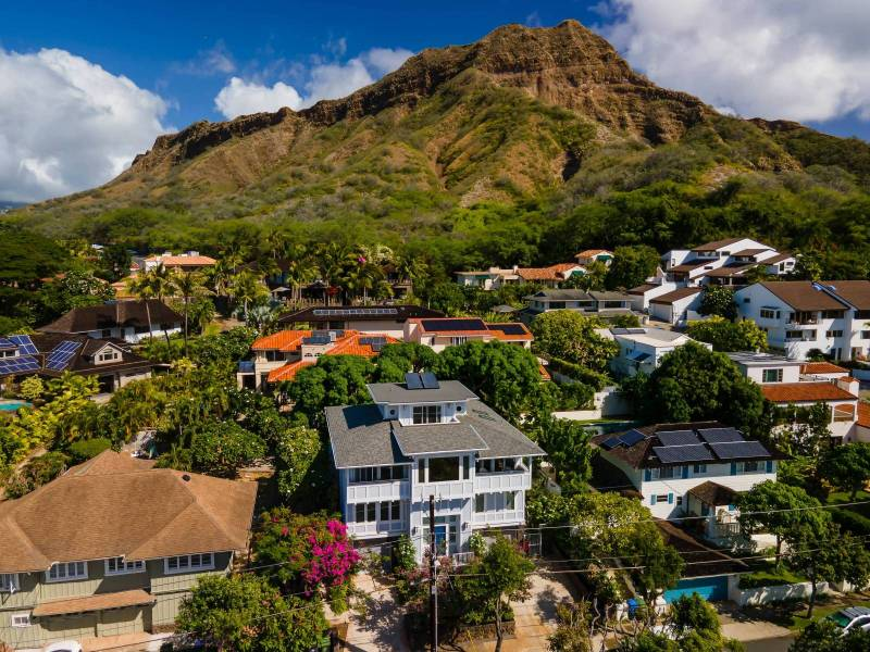 view of home and diamond head in background