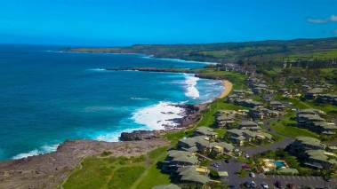 aerial view of oceanfront kapalua bay villas