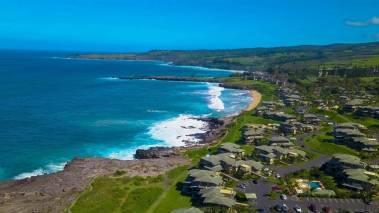 aerial view of oceanfront kapalua bay villas