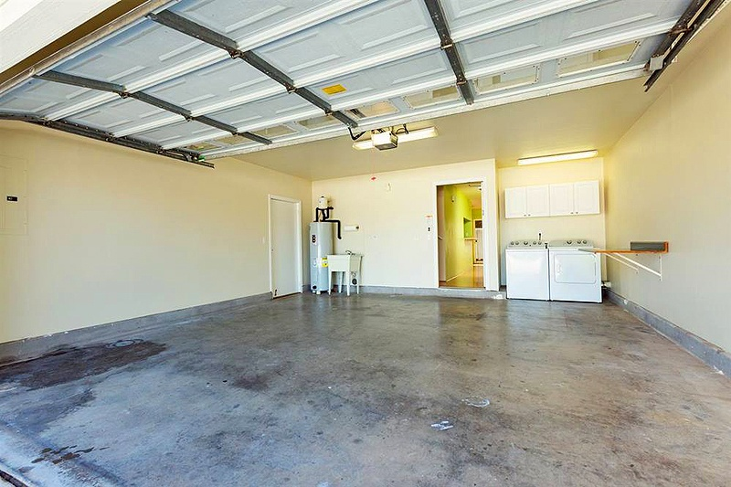 large garage with washer and dryer