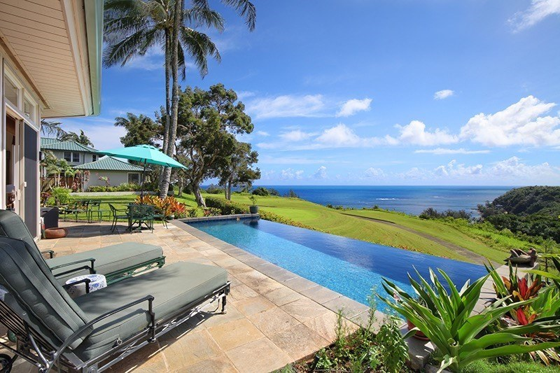 pool overlooking golf course on kauai