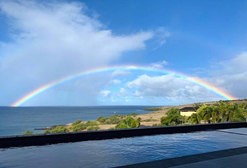 rainbow over ocean big island