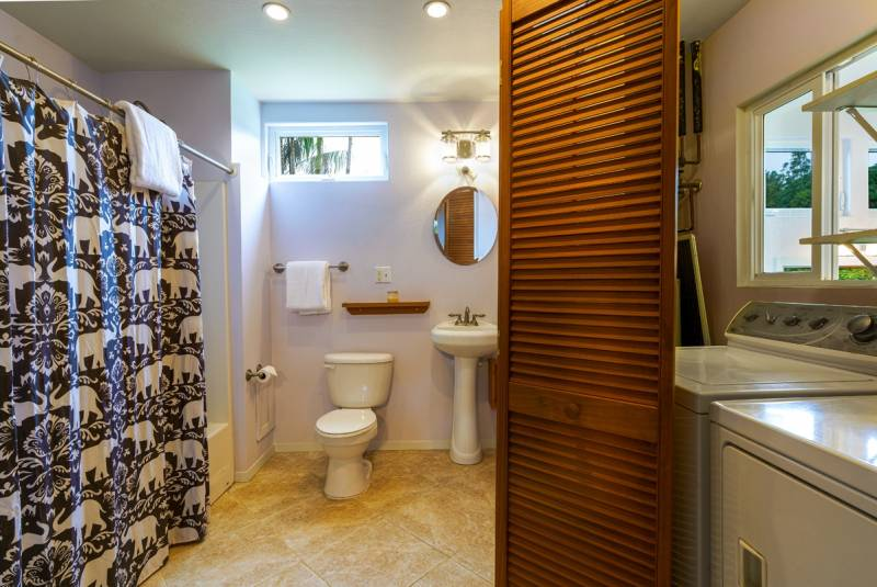 bathroom and washer dryer