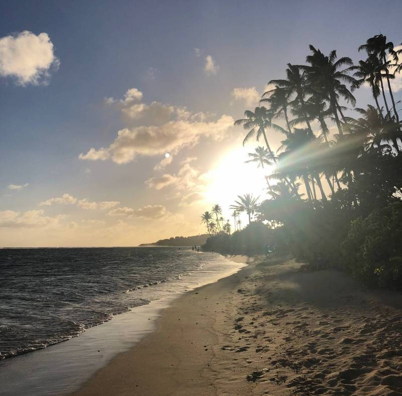beautiful sunset on beach in hawaii