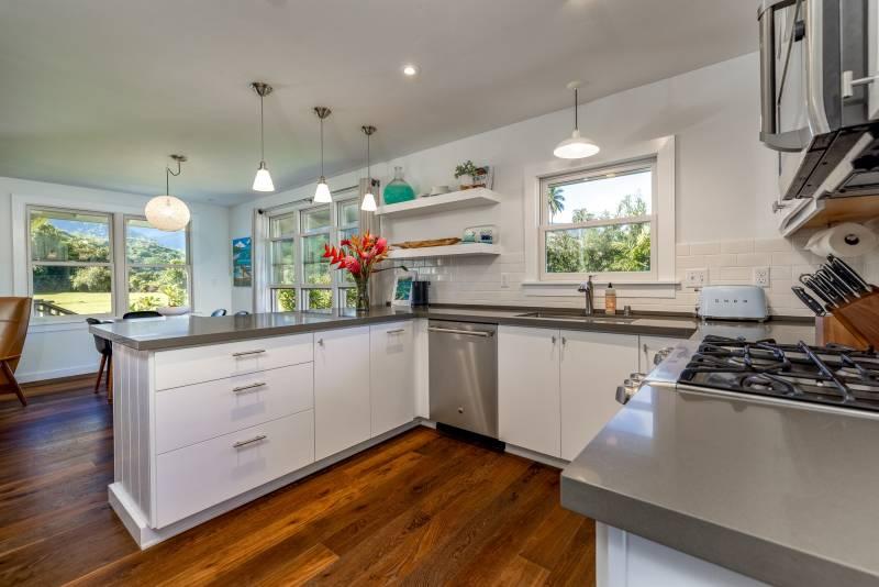 modern kitchen in kauai home