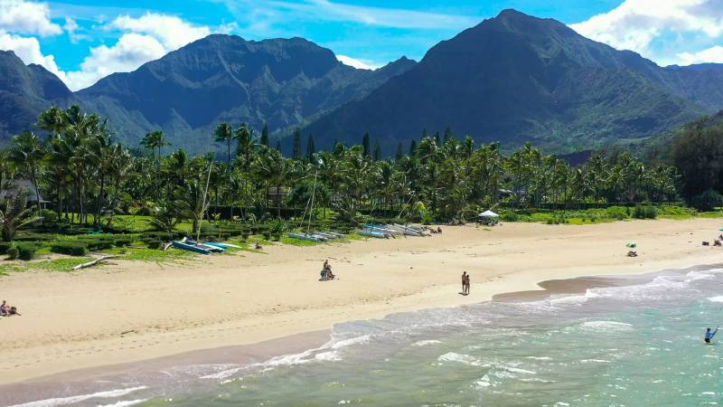 on the beach in kauai