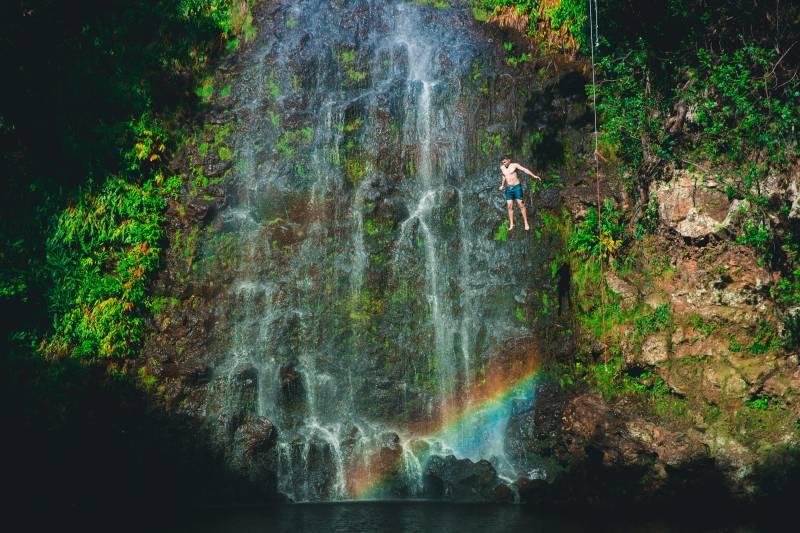 waterfall on hawaii island