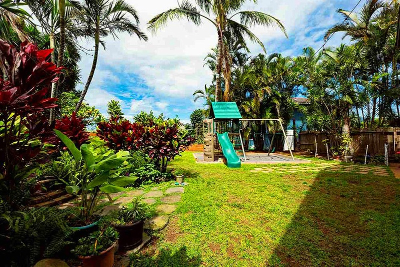 large backyard with tropical landscaping