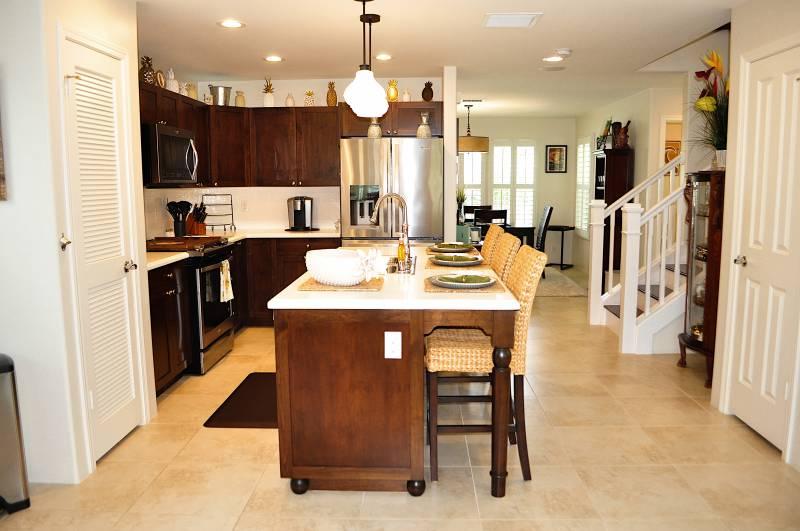 kitchen and open floor plan