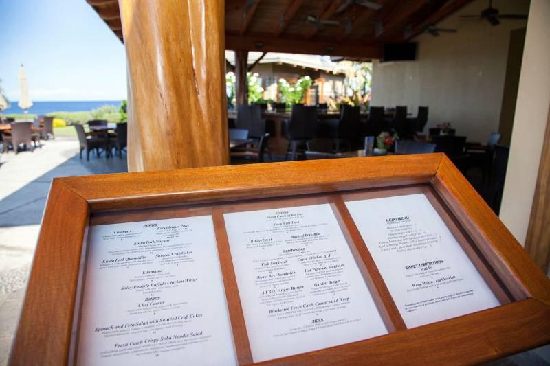 Halii Kai Ocean Club menu