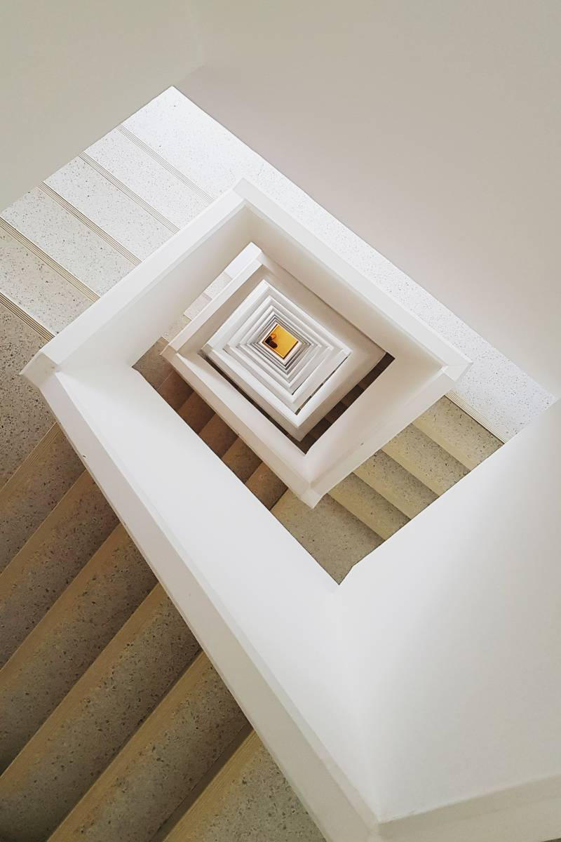 winding geometric staircase