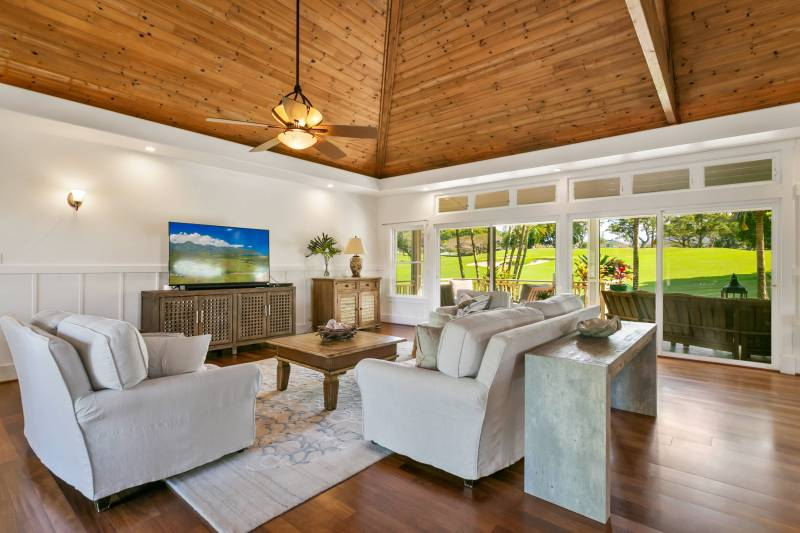 large living room with high ceilings