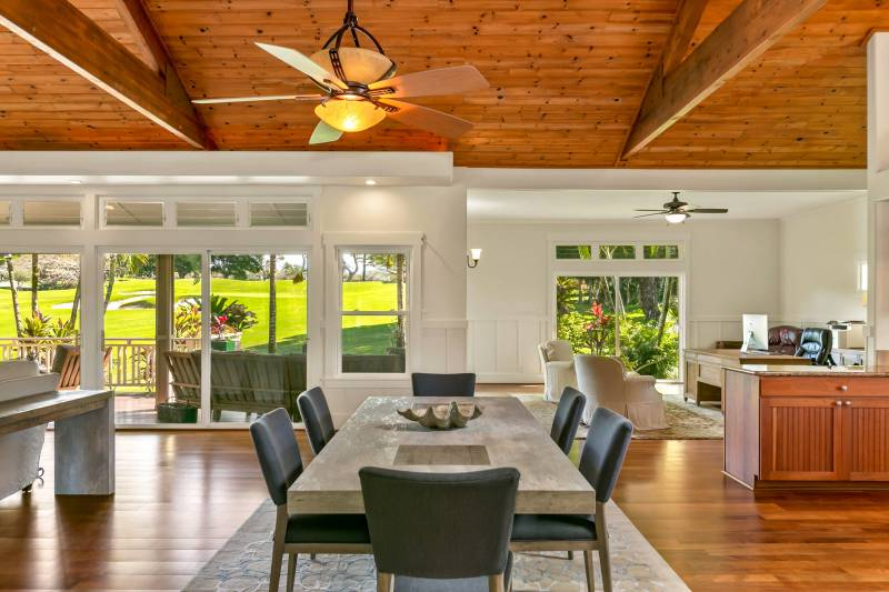 lots of windows and high ceilings with golf course views on the north shore kauai