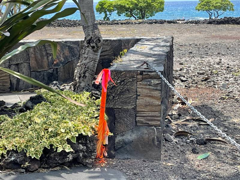 Staking on oceanfront lot in Hawaii
