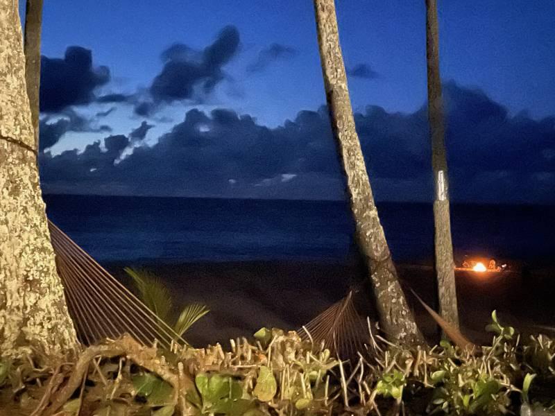 Bonfire on the beach in hawaii