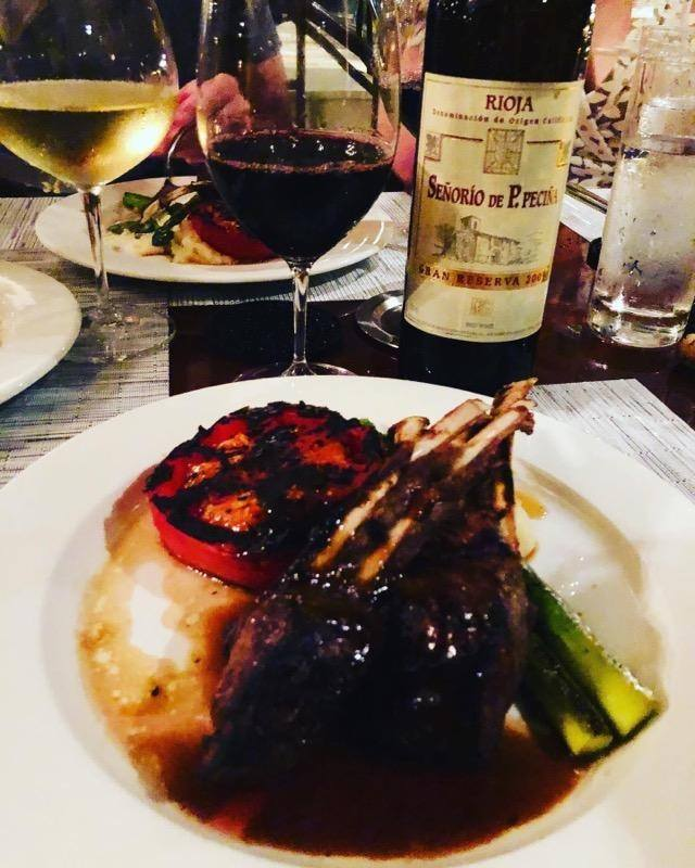 Lamb chops and a bottle of Rioja at Merriman's