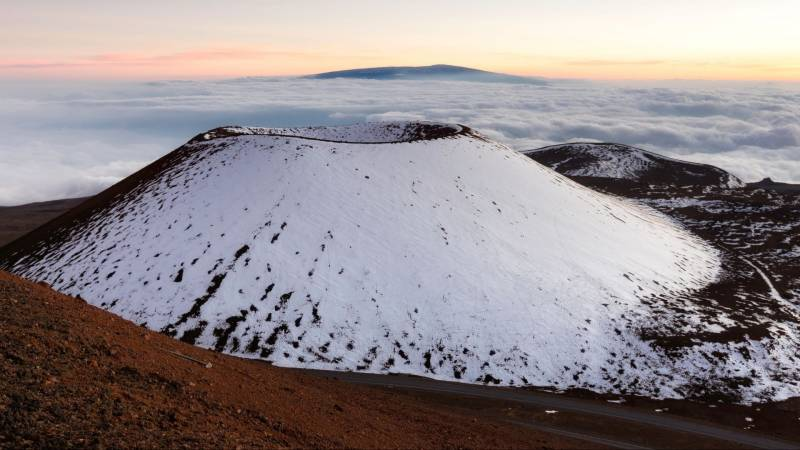snow capped mauna kea on big island hawaii