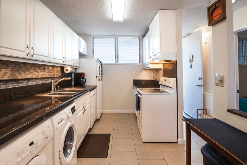 galley kitchen in Honolulu condo for sale