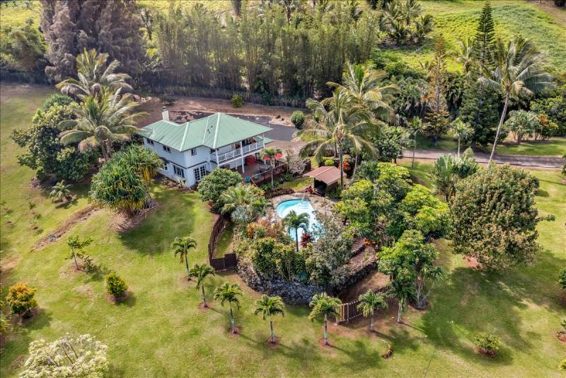 tropical landscaping and pool