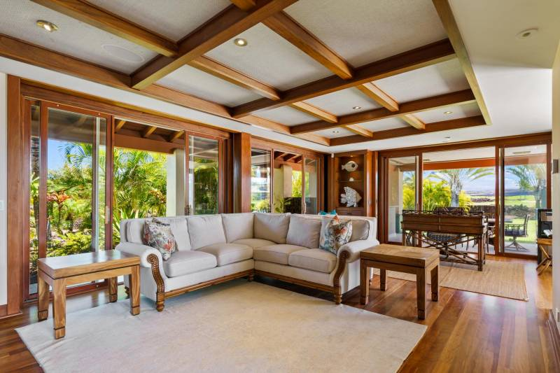 mahogany wood accents throughout the home