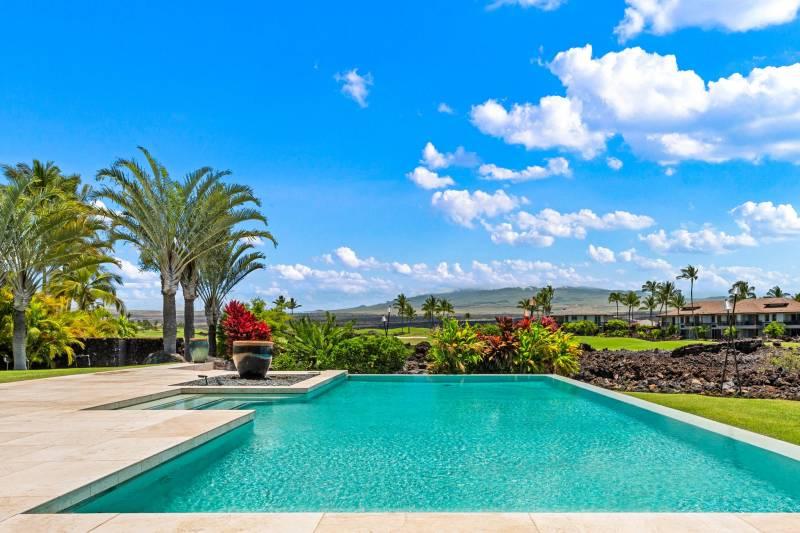 pool with tropical views on the kohala coast