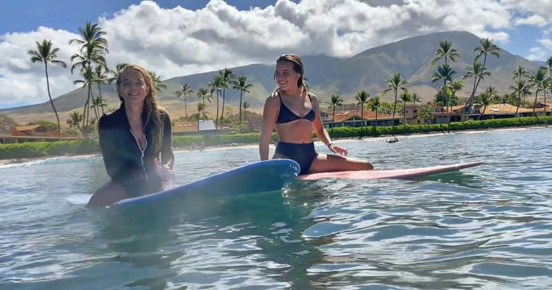 anna severson and daughter on surfboards