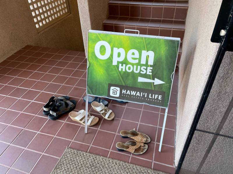 New Listing Open House with sandals by sign