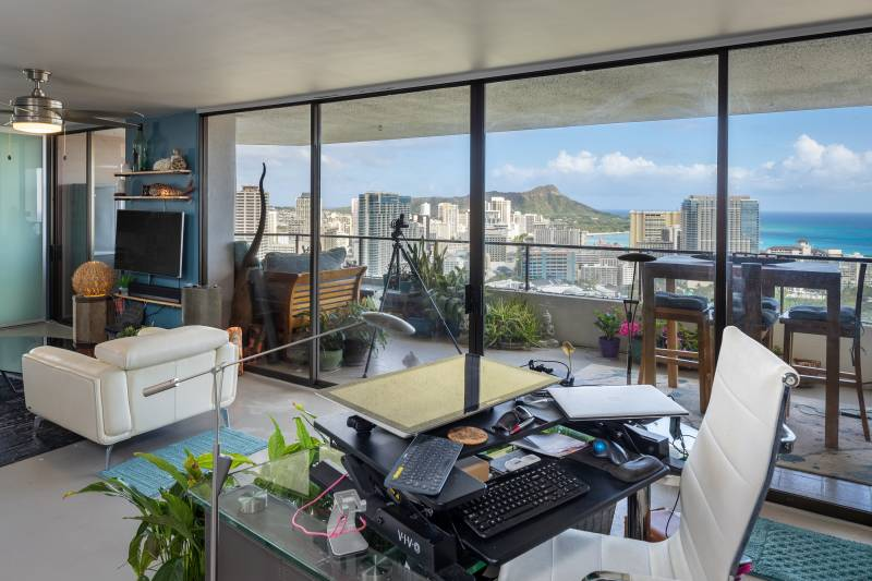 view out to Diamond Head from dining room