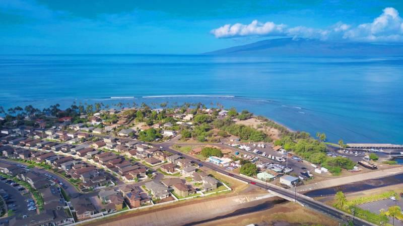 view of ocean and kahoma village neighborhood from lahaina maui