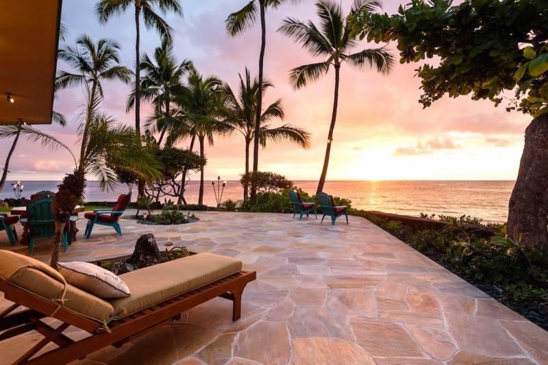 sunset at big island kona oceanfront estate