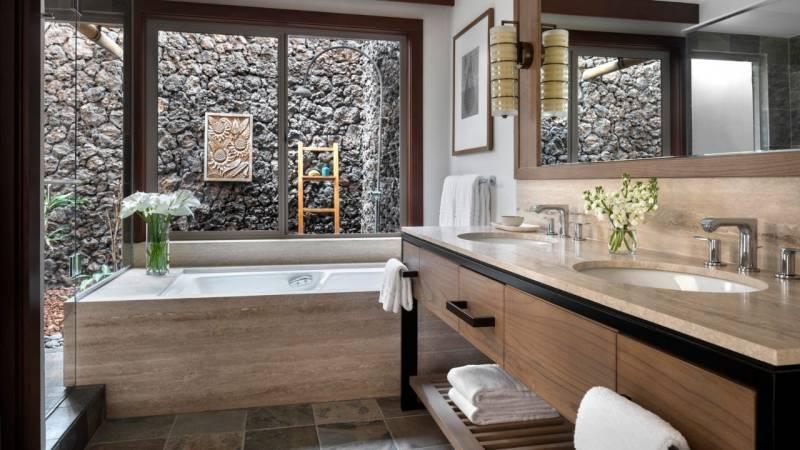 updated bathrooms at hualalai resort big island