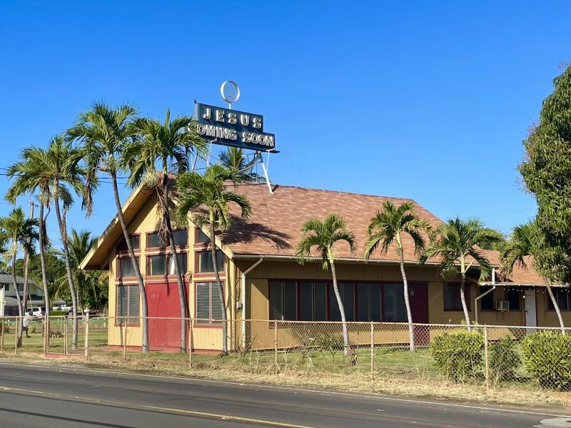 """""""jesus coming soon"""" sign on old missionary building in west maui"""