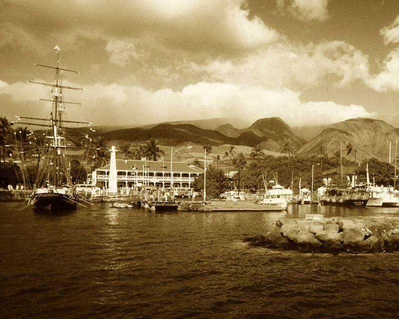 vintage photo or lahaina harbor